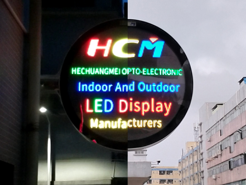 Double-sided round high brightness lighting case for store led display screen